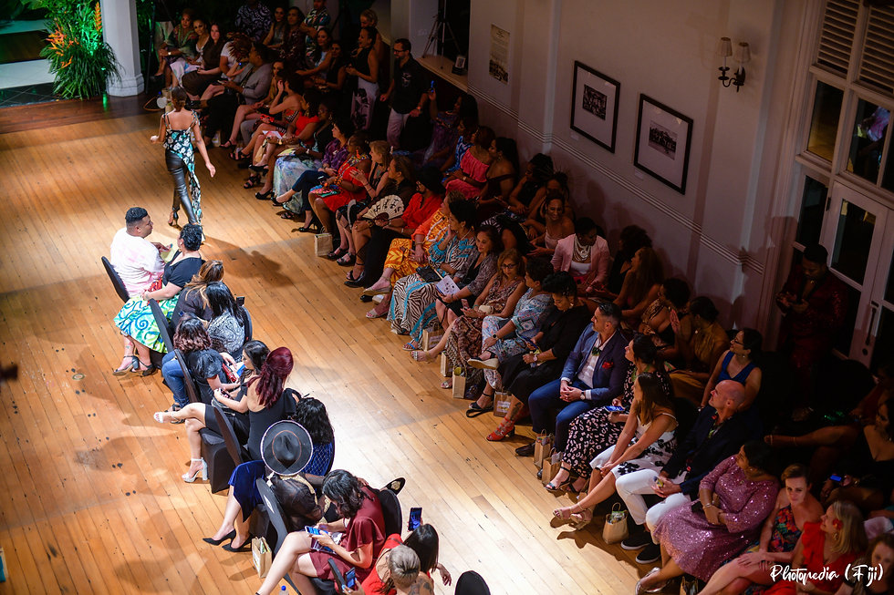 Wearing Fiji Show at the GPH lobby, aerial view of patrons seated as a model walks the runway 200