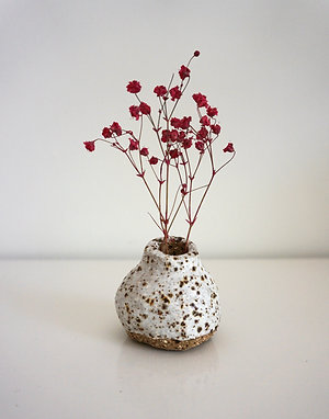 White Speckled Ceramic Mini Vase
