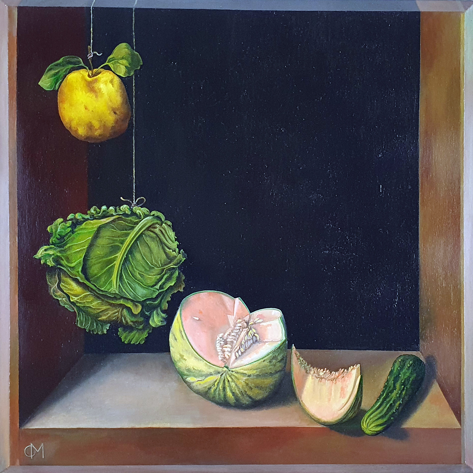 Quince, Cabbage, Melon and Cucumber (1602) by Sánchez Cotán