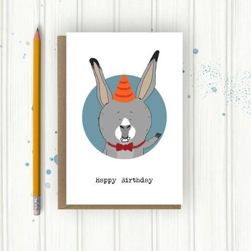 Party Donkey Birthday Card Illustrated Gifts – Donkey Birthday Card