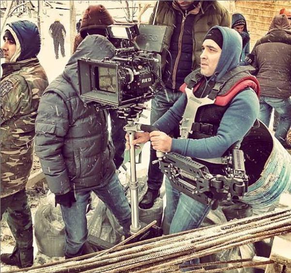 Steadycam Basson Steady with red digital cinema camera, customer photo construction scene winter snow
