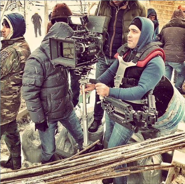 Steadycam Basson Steady with red digital cinema camera, customer photo construction scene winter snow