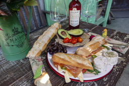 Haras de Charme summer meals, baguettes cheese cold cuts wines & breads
