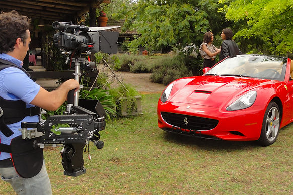 Basson Steady hybrid camera stabilizers model Bumblebee pro6 and sony 4k camera Ferrari California behind the scenes photo