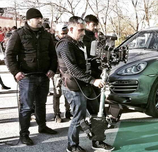 Steadycam Basson Steady with red digital cinema camera, customer photo porsche