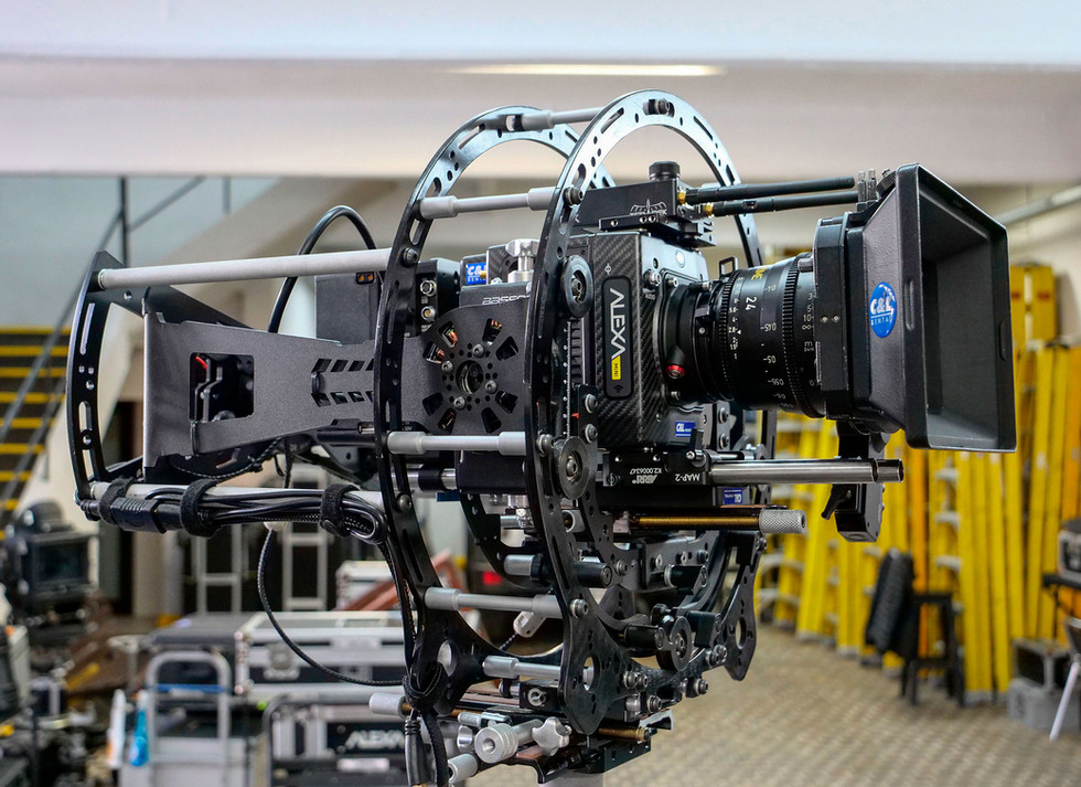 Arri alexa mini on the rotary head Endless 3 and INFINIA 3, angle view, made by Basson Steady camera stabilizer