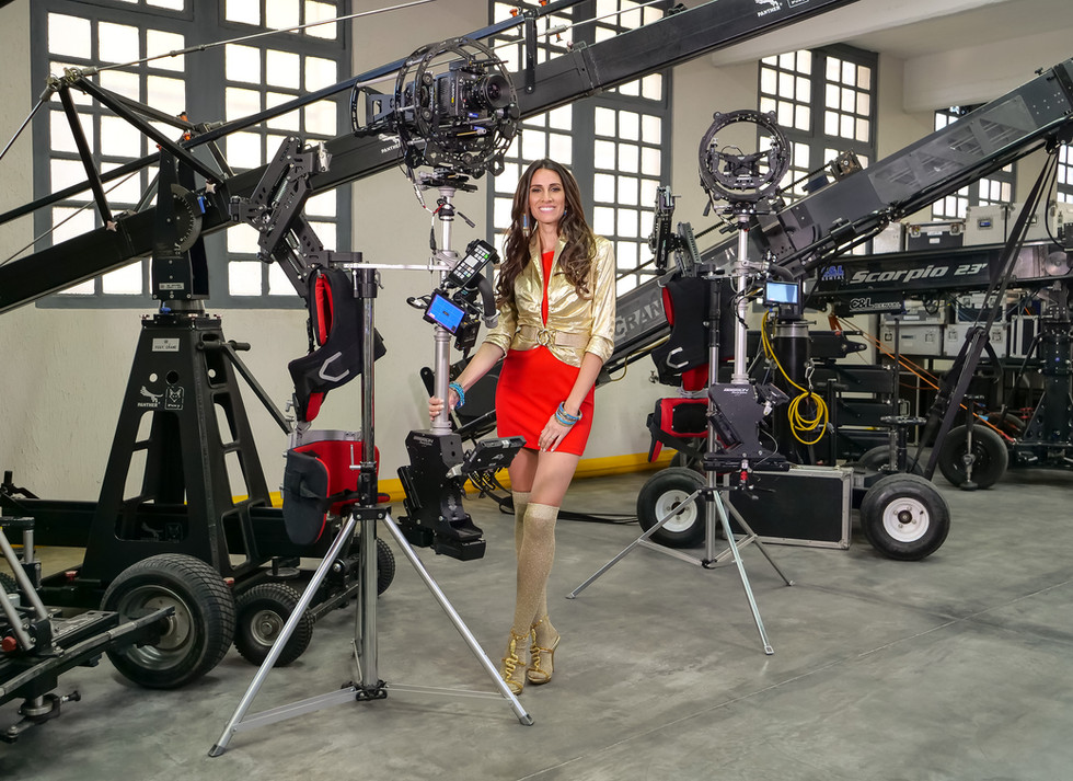 Steadycam with Arri alexa mini model possing besides the hybrid steadycam Endless 3 Basson Steady camera stabilizer