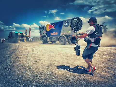 Basson Steady hybrid camera stabilizers model Bumblebee pro6 and sony 4k camera RED BULL DAKAR behind the scenes photo