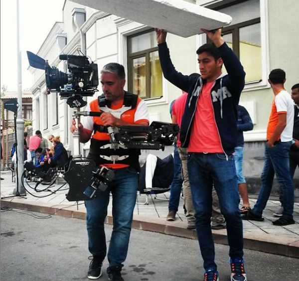 Steadycam Basson Steady camera stabilizer with red digital cinema camera, customer photo, brand commercial from Europe