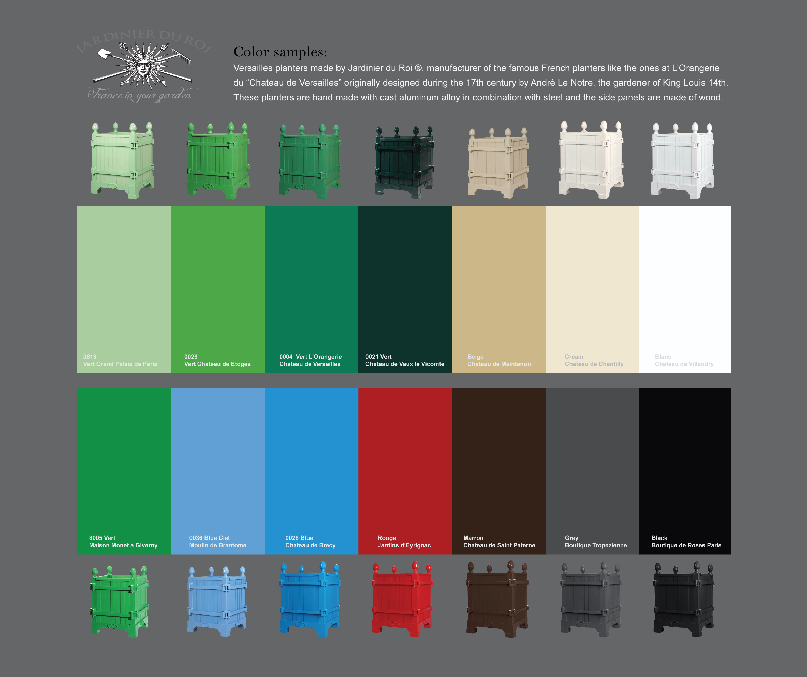 Versailles planter color palette