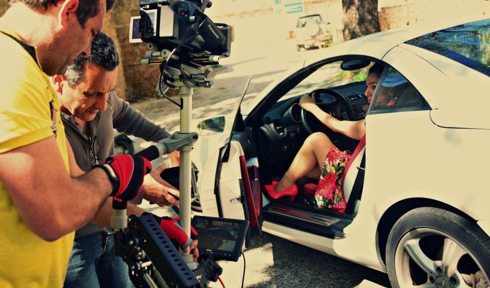 Steadycam Basson Steady camera stabilizer with digital cinema camera, customer photo sexy girl sport car commercial