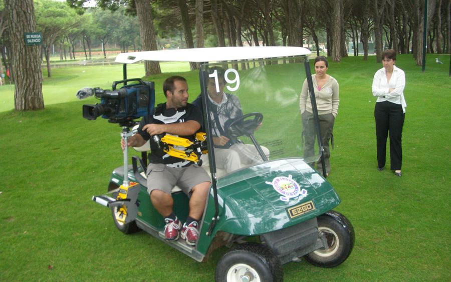 Steadycam Basson Steady camera stabilizer with digital cinema camera, customer photo, golf club Jordi Spain europe