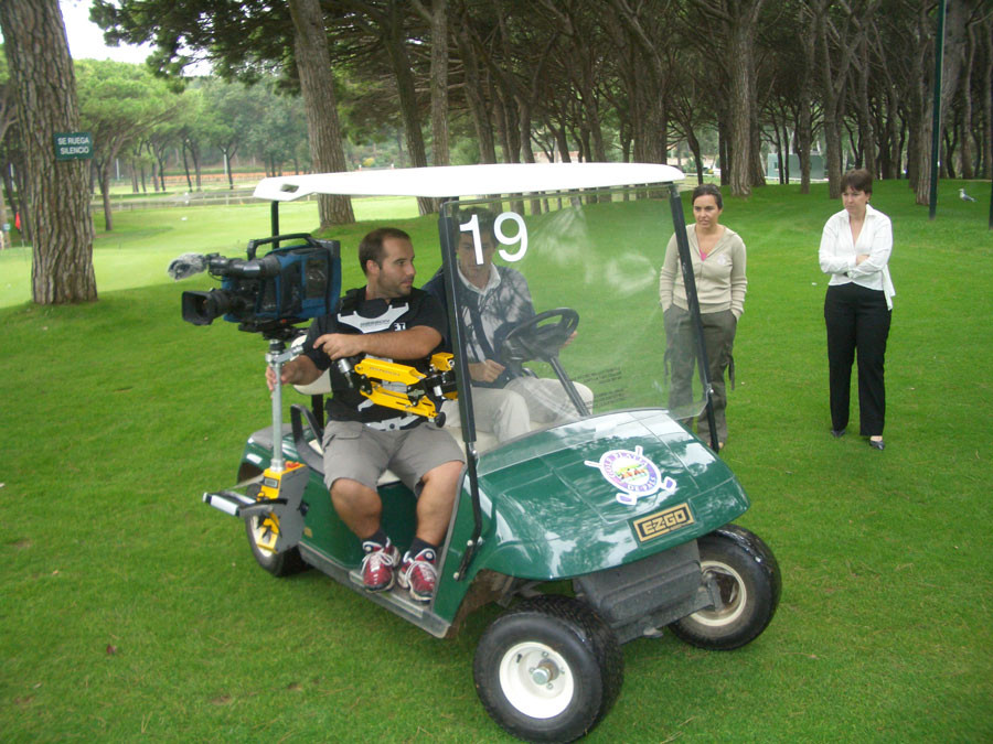 Steadycam Basson Steady camera stabilizer with digital cinema camera, customer photo, golf club Jordi Spain europe