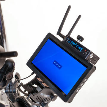 Teradek wireless transmitter on small hd monitor