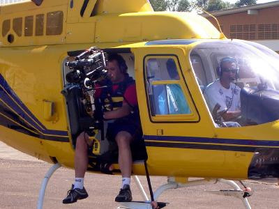 Steadycam Basson Steady camera stabilizer with digital cinema camera, customer photo, helicopter scen movie production from Europe