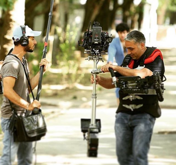 Steadycam Basson Steady camera stabilizer with red digital cinema camera, customer photo, commercial scene on movie production from Europe