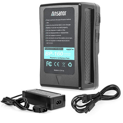Ansanor V-Mount Battery and Charger for Video Camera Camcorder (160 Watt Hour)