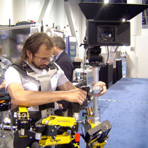 Steadycam Basson Steady camera stabilizer with digital cinema camera, customer photo, Arthur from Hollywood studio rentals Las Vegas NAB SHOW video expo