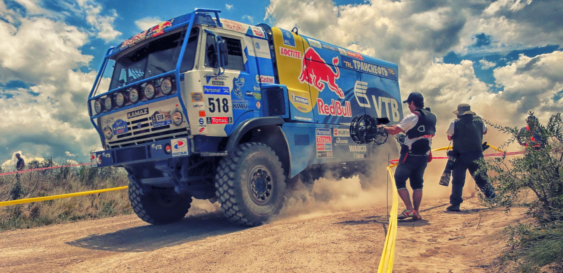 hybrid Steadycam Basson Steady camera stabilizer with digital cinema camera, customer photo, rally Dakar redbull truck