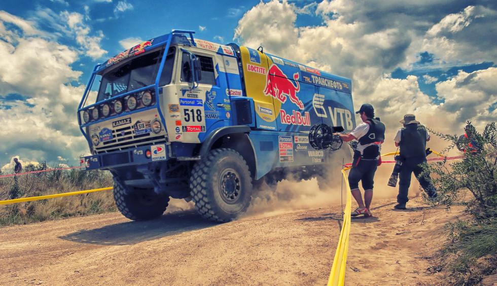 hybrid Steadycam Basson Steady camera stabilizer with digital cinema camera, customer photo, rally Dakar redbull truck