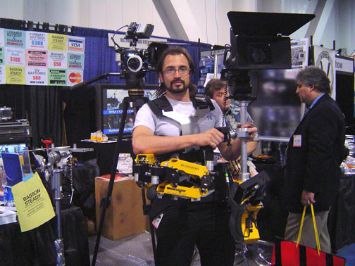 Steadycam Basson Steady camera stabilizer with digital cinema camera, customer photo, Arthur Las Vegas NAB SHOW video expo