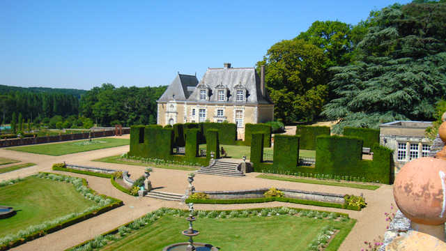 Chateau Valmer, Loire Valley, gardens view from terrace