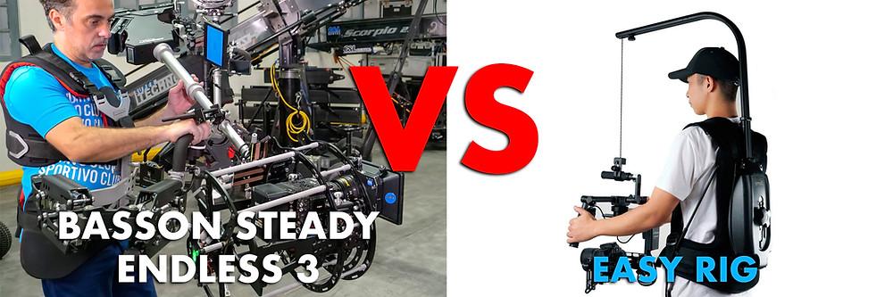 Easyrig vest with Flow Arm and Easyrig Flowcine Serene vs Hybrid Steadycam gimbal Basson Steady