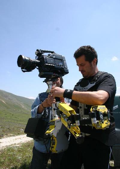Steadycam Basson Steady camera stabilizer with digital cinema camera, customer photo, movie production europe