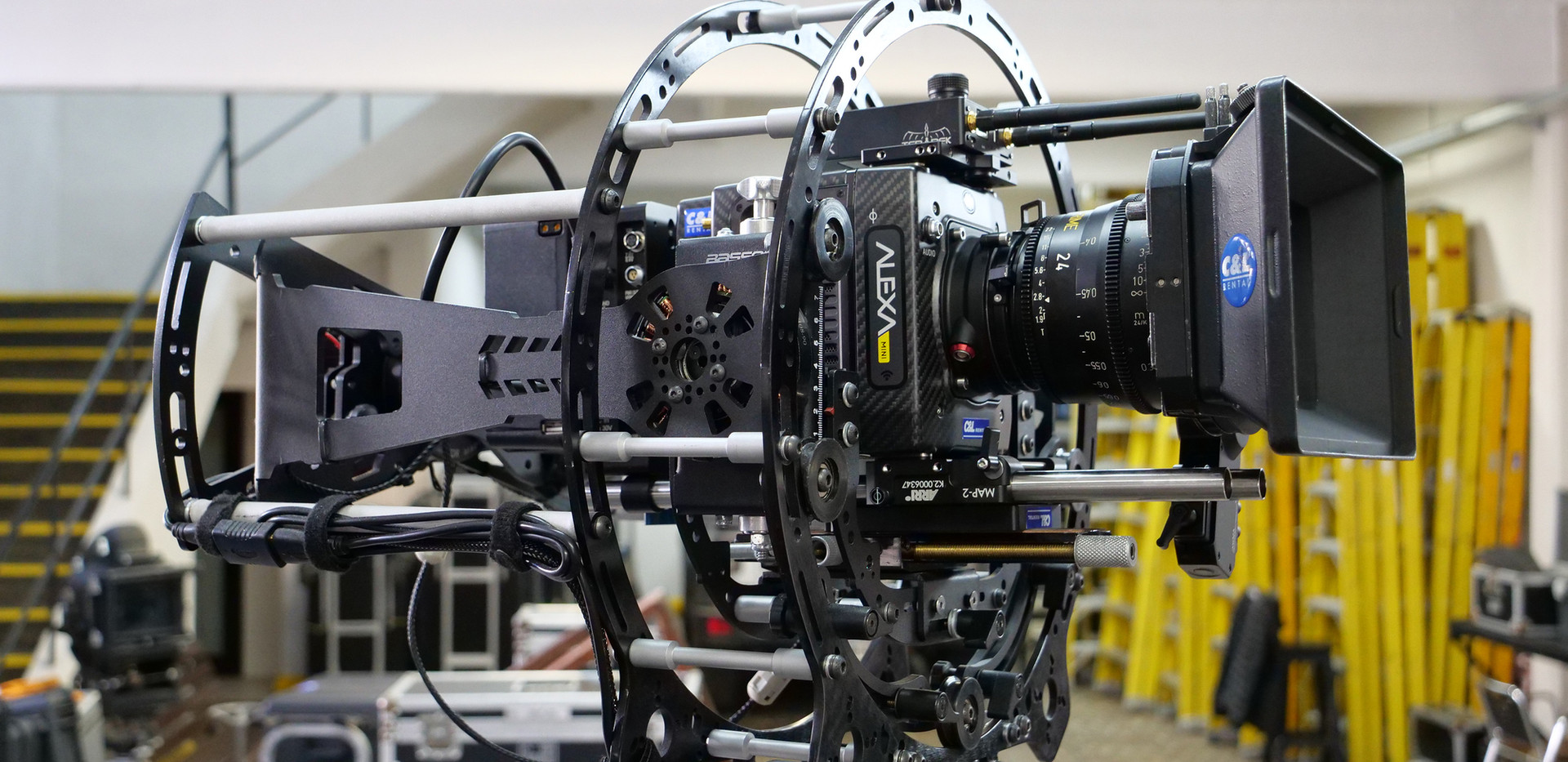 Hybrid Steadycam with carbon fiber Arri alexa mini on hybrid steadycam Endless 3 Basson Steady camera stabilizer