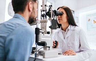 Attractive female doctor  ophthalmologis