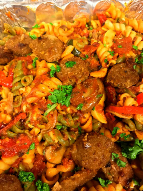 Vegan spiral vegetable pasta with Rosemary Red Sauce