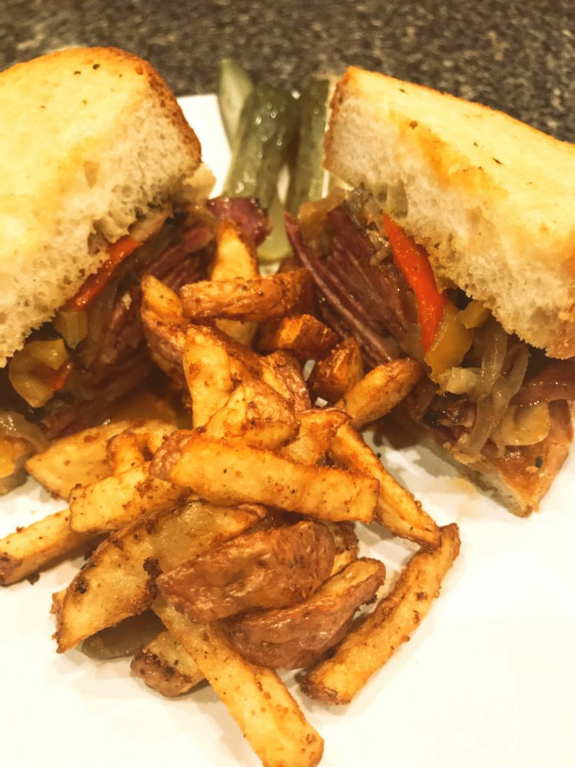 Brisket stacker with home seasoned red fries