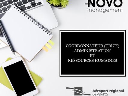 Coordonnateur(trice) administration et ressources humaines - Comblé