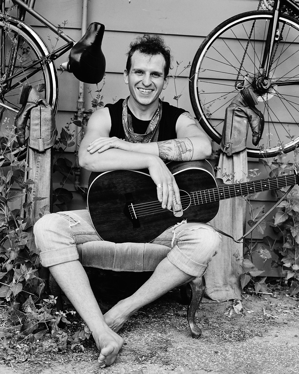 Burlington Musician and Guitarist Eric George at his home