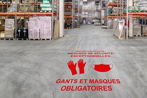 """Pochoir """"Gants et masques..."""" : 1 mètre x 56 cm"""