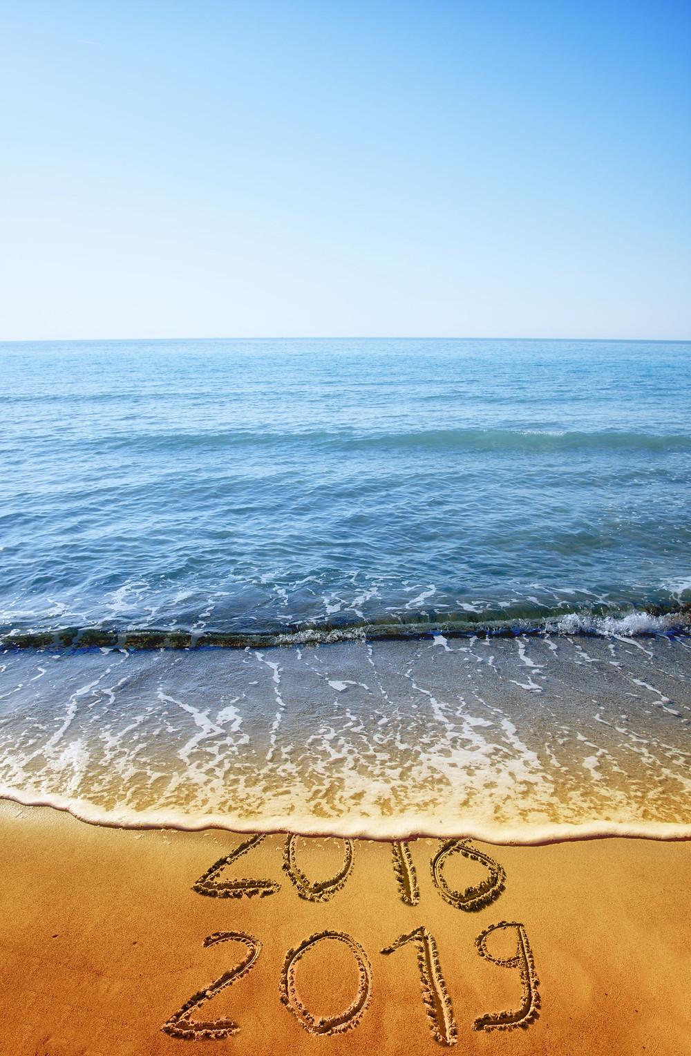 2019 on a beach