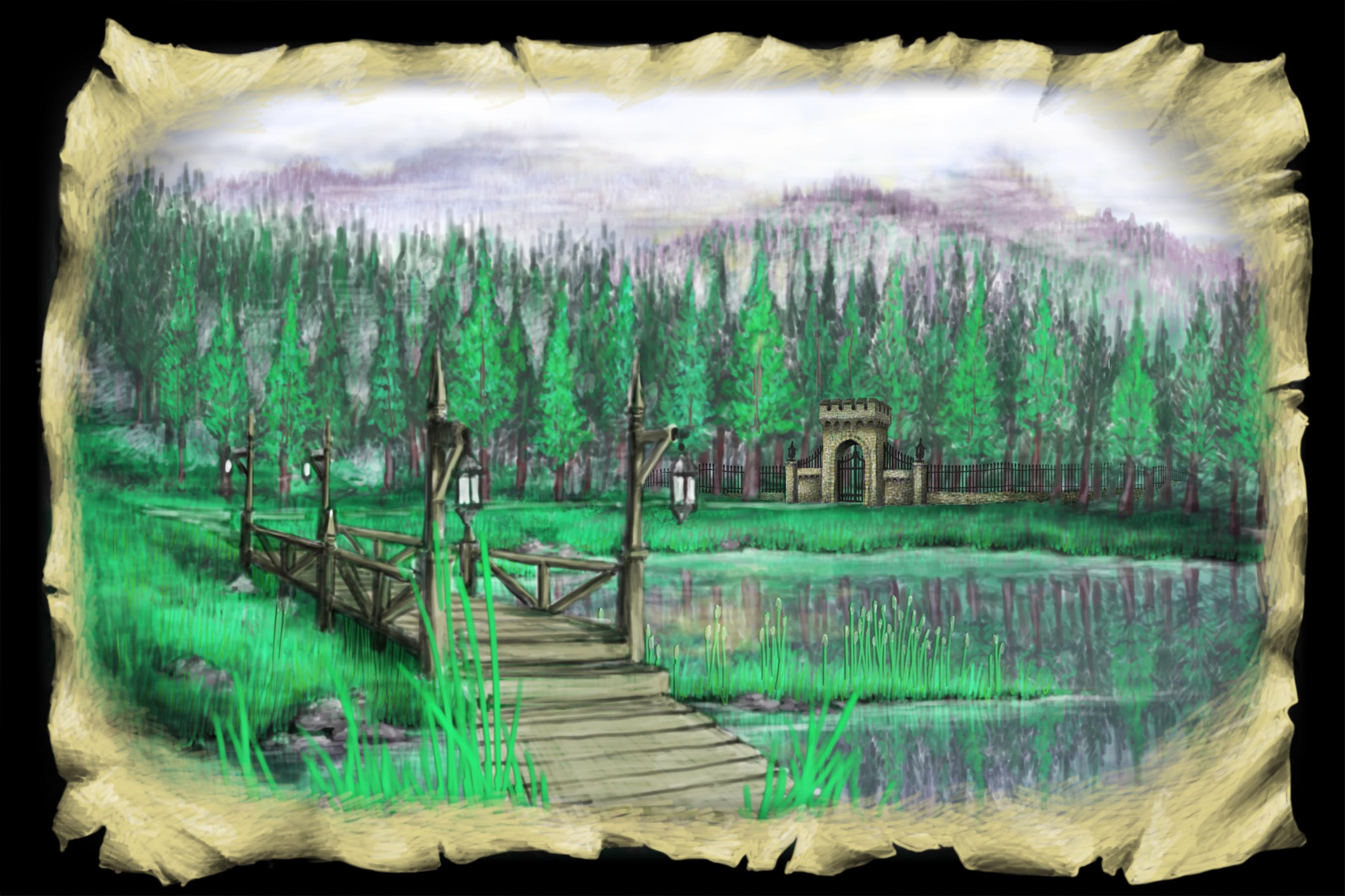 Scene 2d. Lake and Bridge, Midday