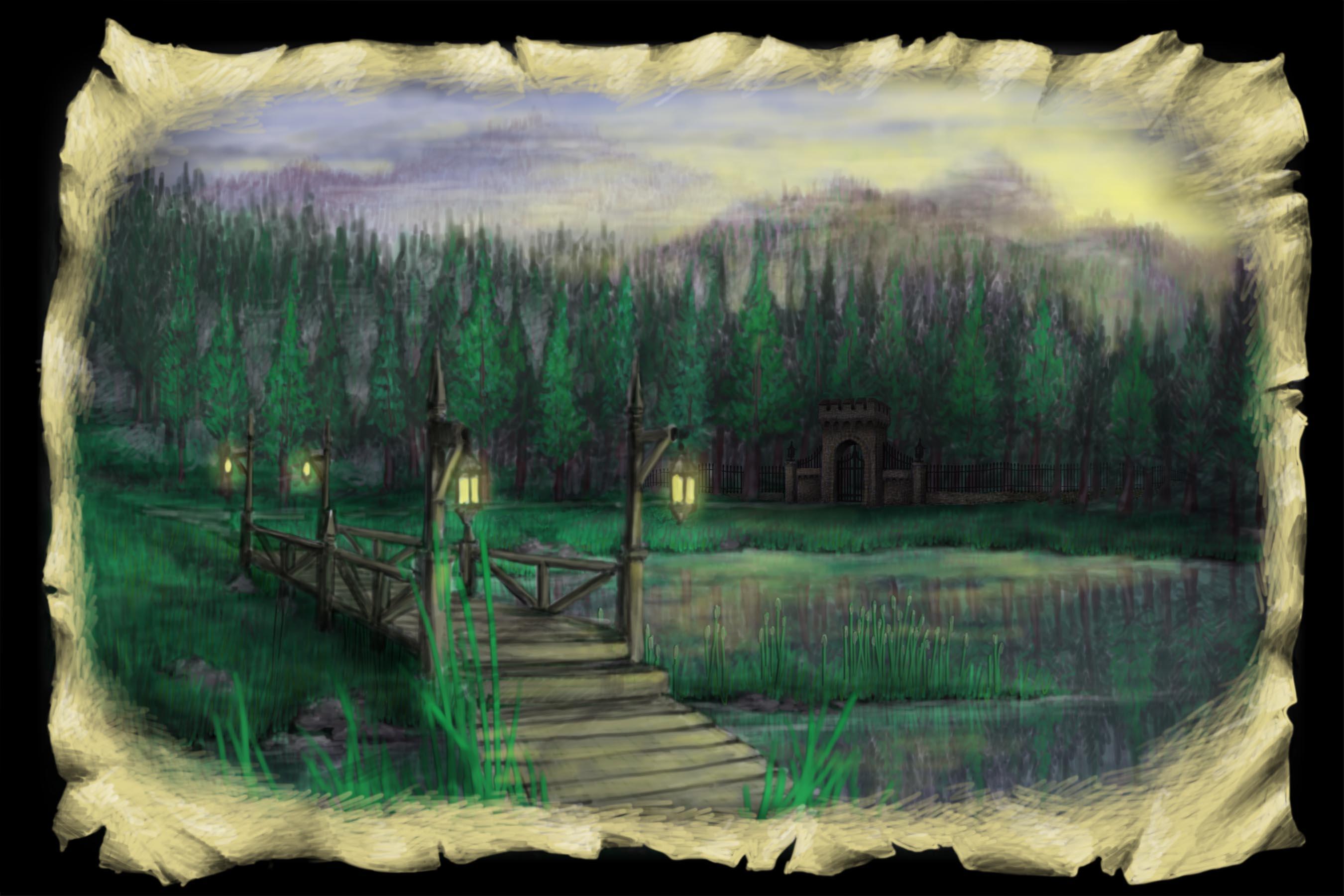Scene 2a. Lake and Bridge, Pre-Sunrise