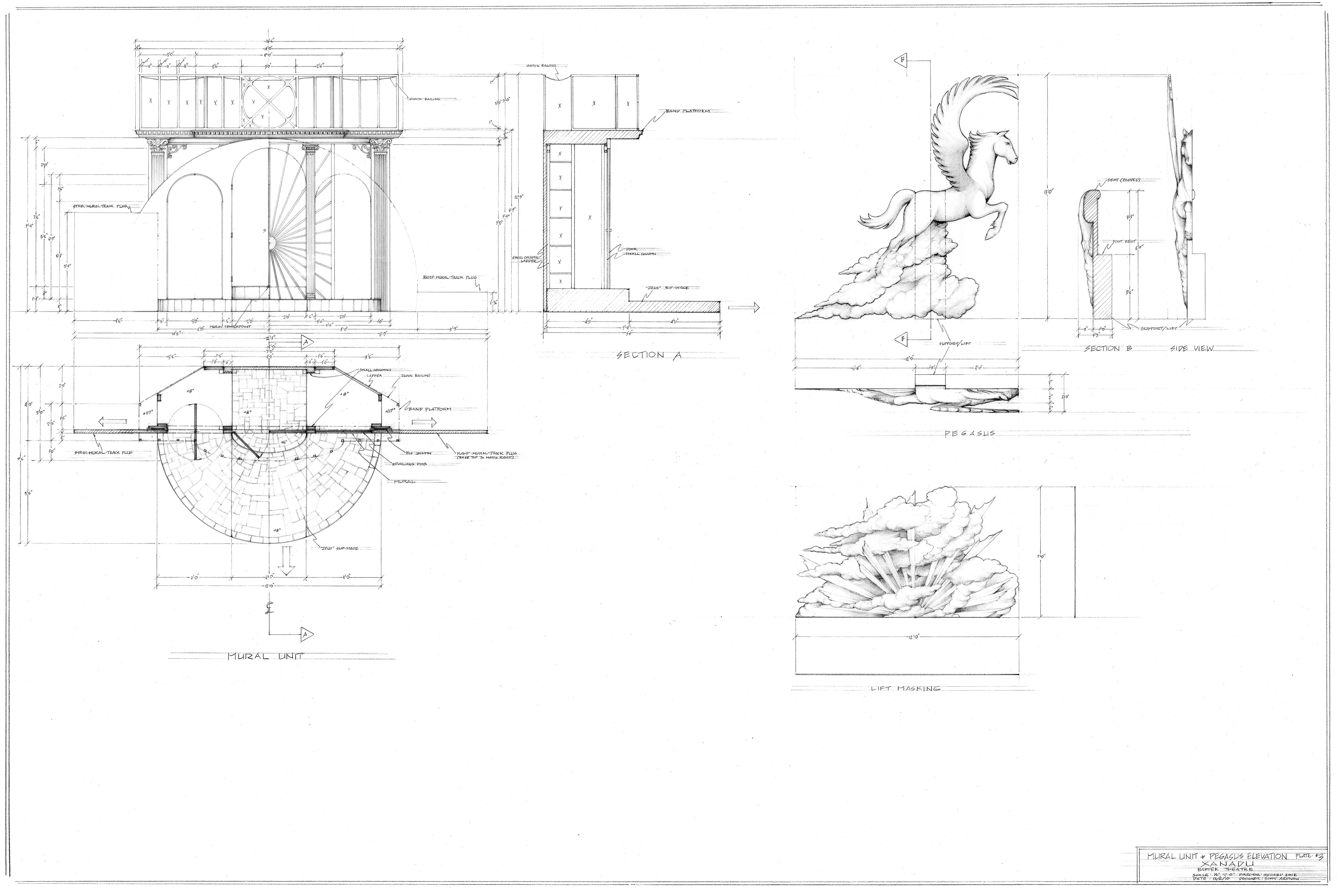Plate #3-Mural, Pegasus Elevations