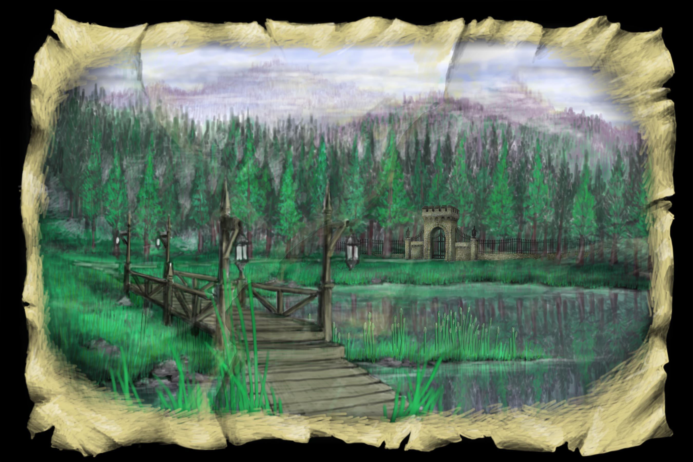 Scene 2i. Lake and Bridge, Restored