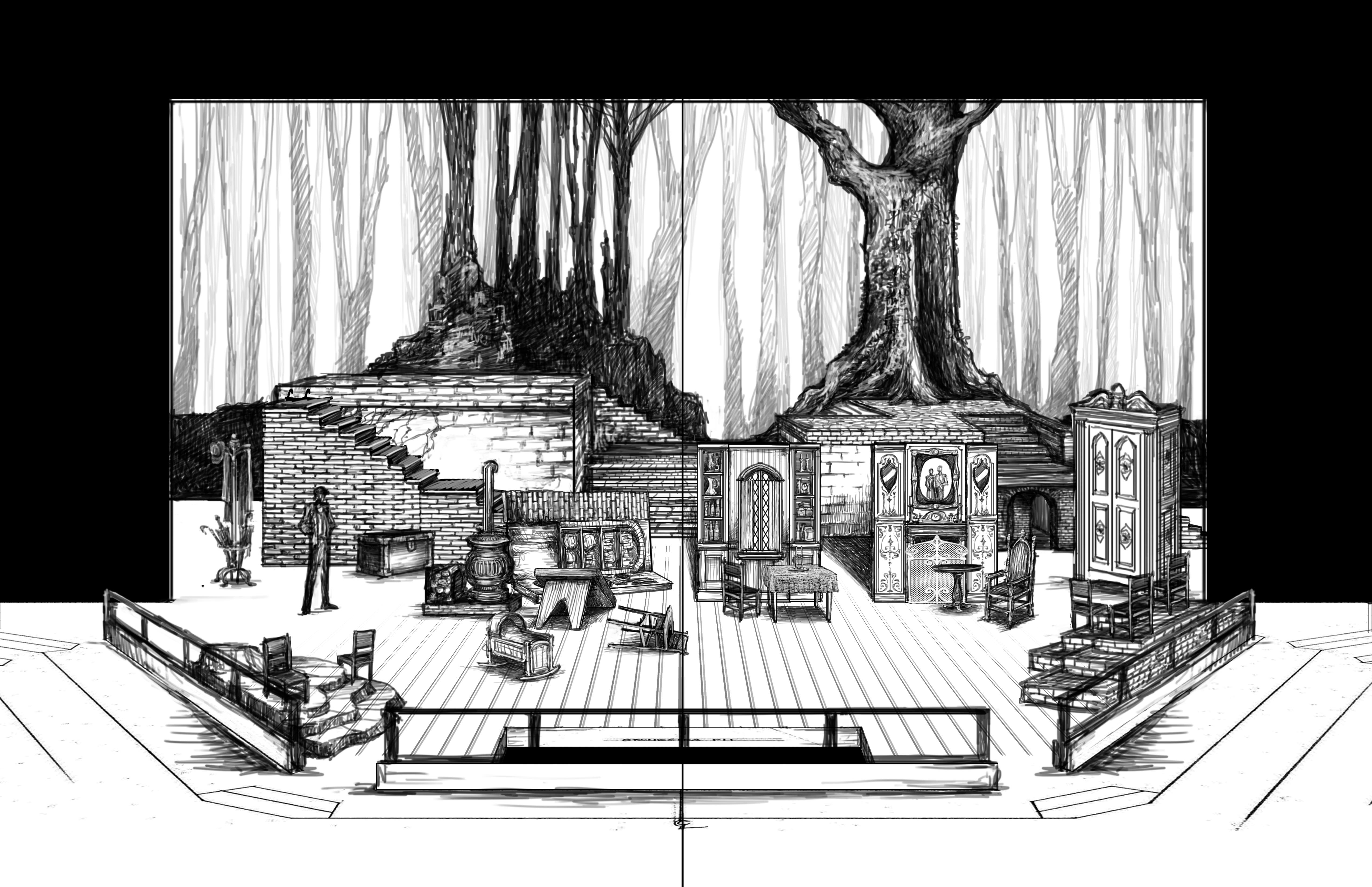 15. Threee Houses, ruined