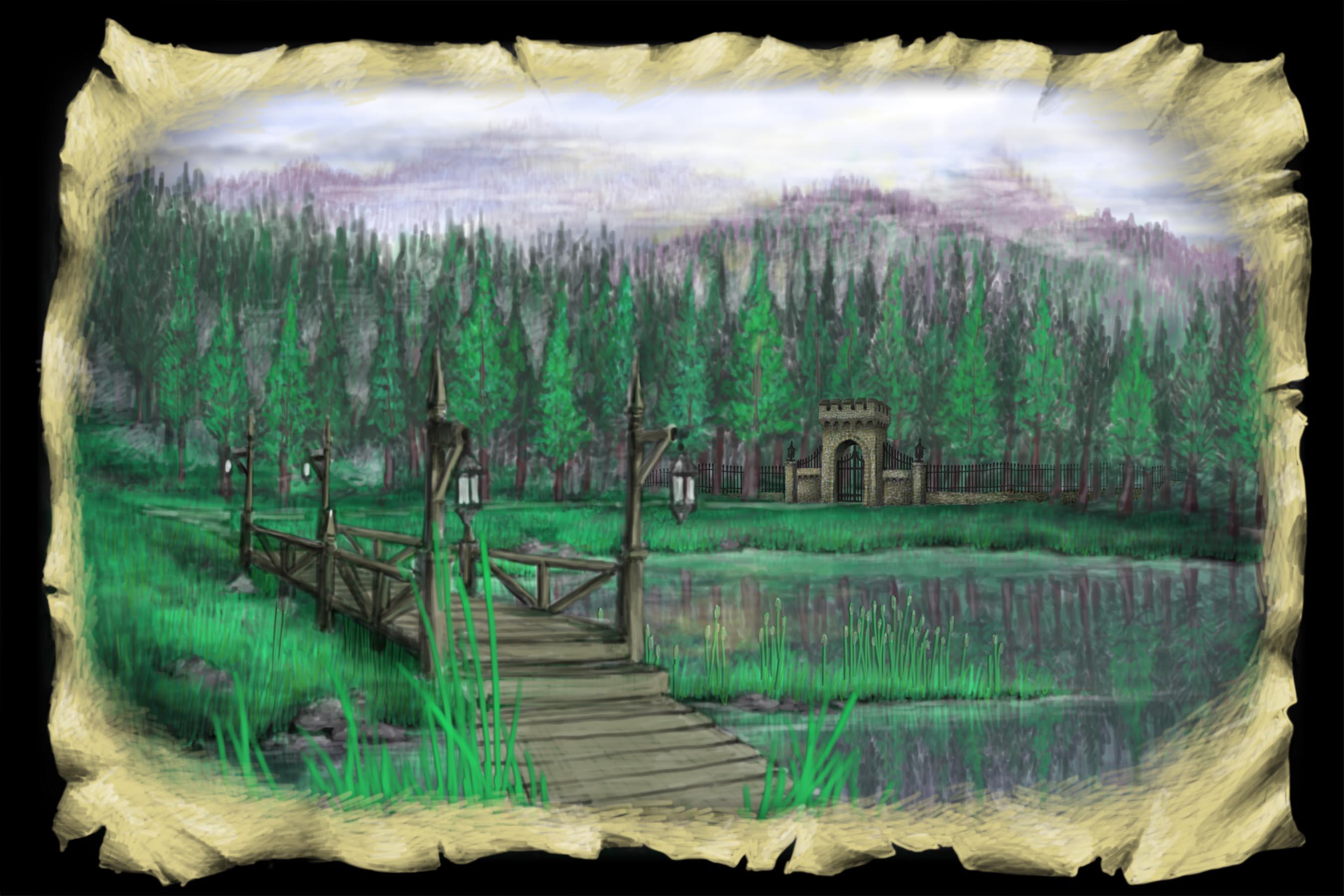 Scene 2b. Lake and Bridge, Daytime