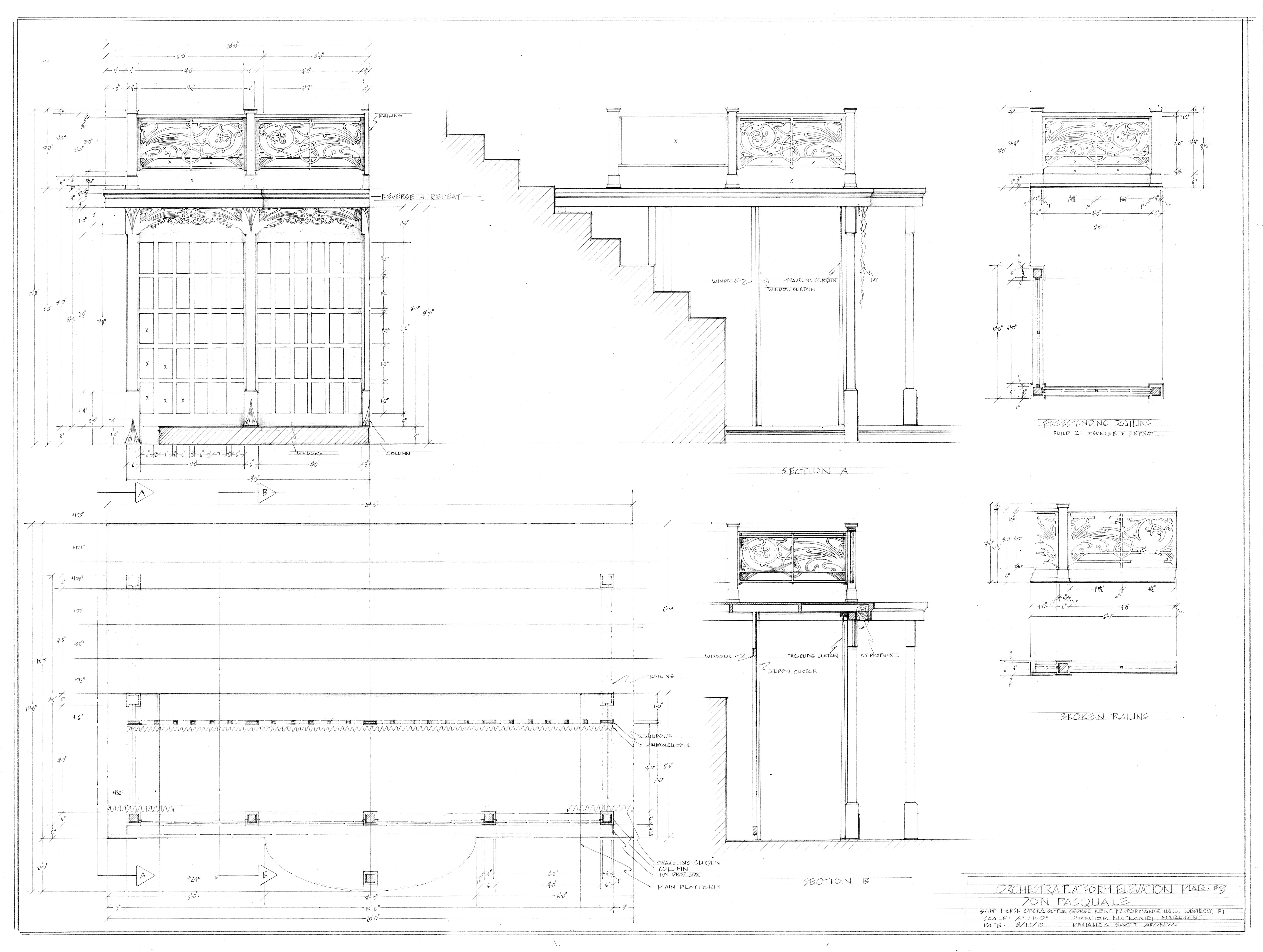 Plate #3. Orchestra Platform Elevation, RI