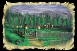 Scene 2e. Lake and Bridge, Dusk