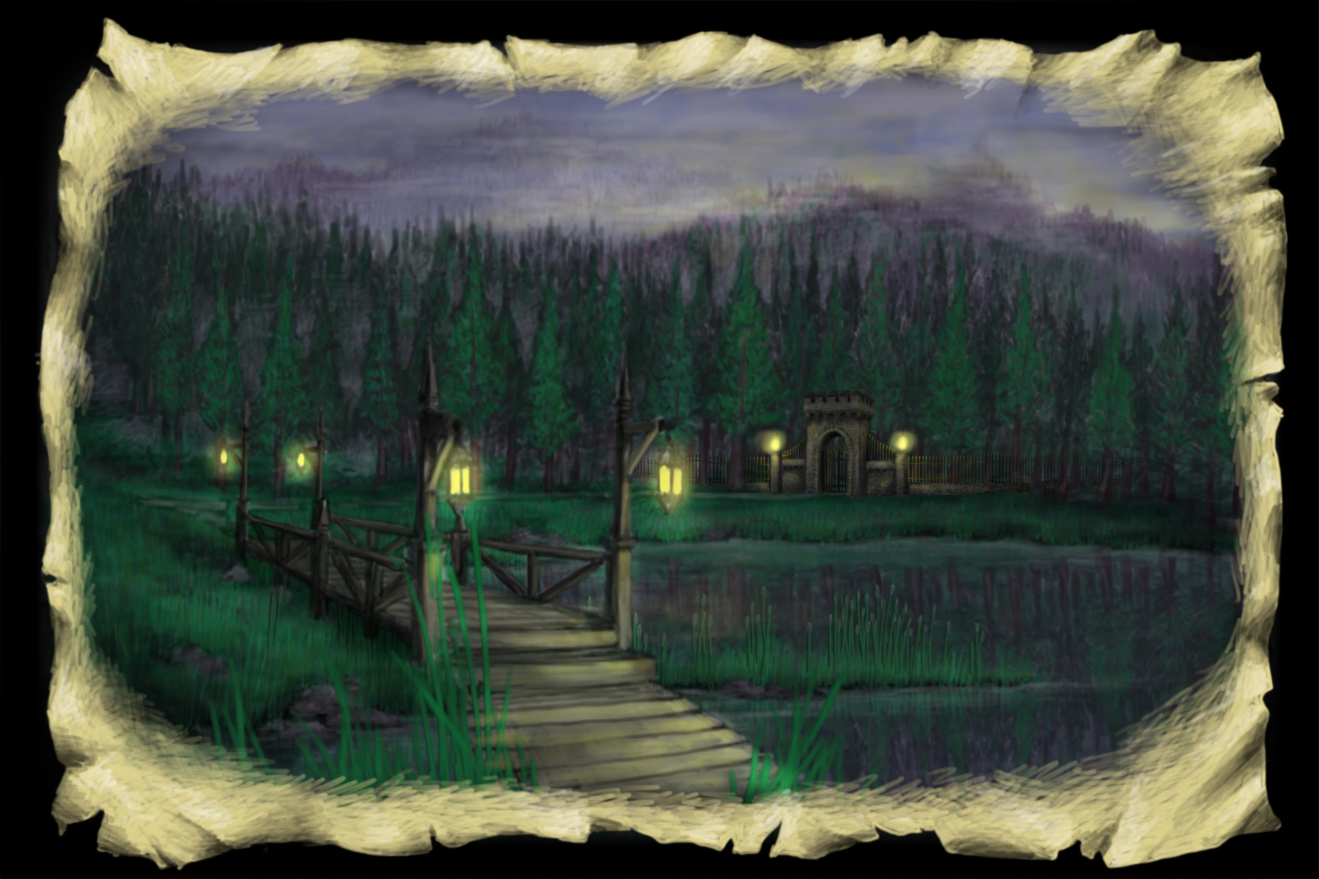 Scene 1. Lake and Bridge, Night Time