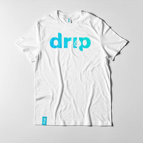 Drip Logo White T Shirt