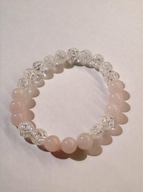 Rose Quartz + Clear crackle Quartz Bracelet