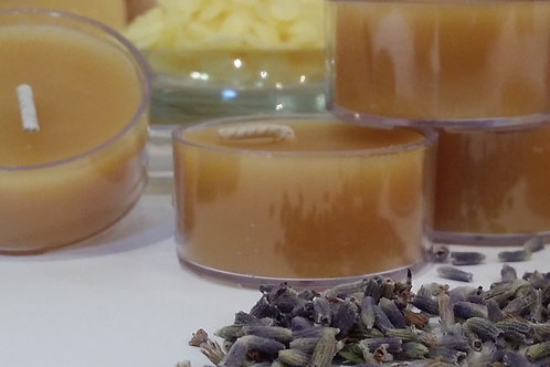 Lavender Infused Tealights ~100% Canadian Beeswax