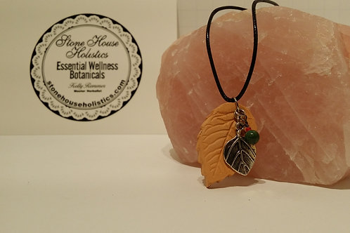 Handcrafted Clay Leaf Aromatherapy Diffusing Pendant