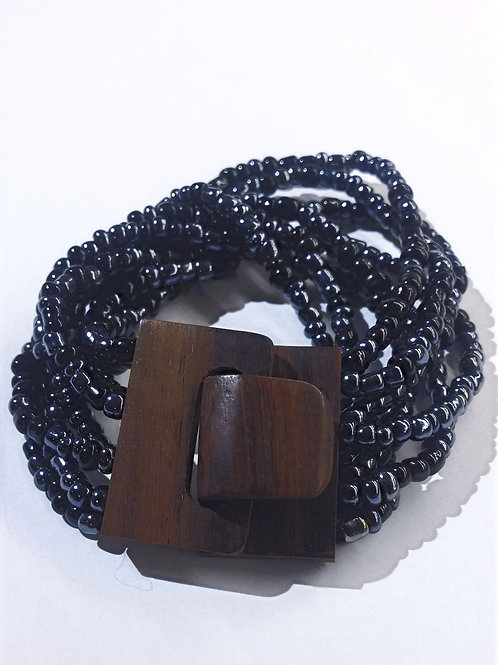 Black Bead-work Faux Hickory Bracelet
